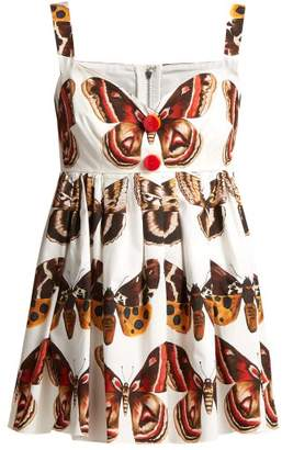 Dolce & Gabbana Butterfly Print Cotton Top - Womens - Brown White