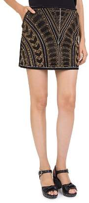 The Kooples Beaded Denim Mini Skirt
