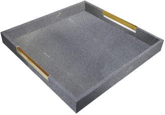 Jay Import Co Square Faux-Shagreen Plastic Serving Tray w/ Gold Handles