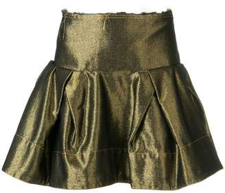 Marques Almeida Marques'Almeida metallic ruffled denim skirt