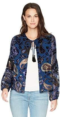 Ella Moon Women's Nala Burnout Print Tassel Trim Jacket