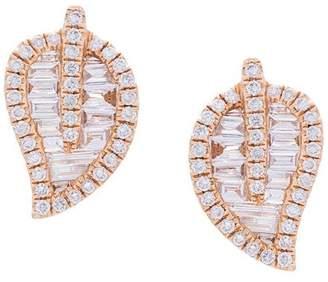 Anita Ko 18kt rose gold small leaf stud diamond earrings