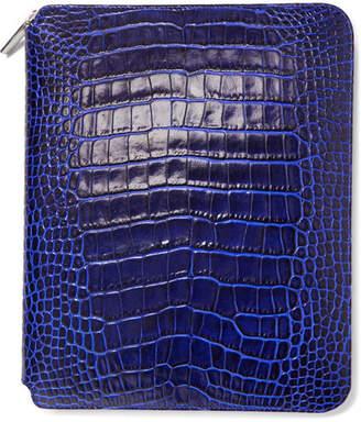 Smythson Mara Croc-effect Leather Notebook Case - Cobalt blue