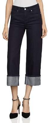 BCBGMAXAZRIA Cropped Wide-Leg Jeans in Rinse Wash