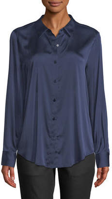 Eileen Fisher Long-Sleeve Silk Charmeuse Button-Front Shirt
