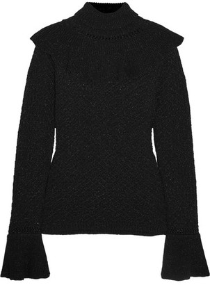 Co - Ruffled Metallic Knitted Turtleneck Sweater - Black $625 thestylecure.com