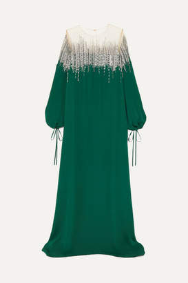 Oscar de la Renta Embellished Silk-crepe And Tulle Gown - Emerald