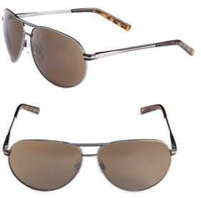 Alfred Sung 65mm Metallic Oval Aviator Sunglasses