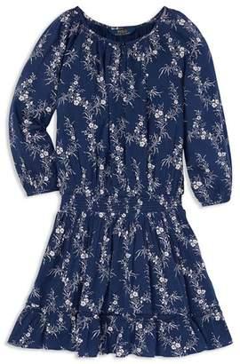 Ralph Lauren Girls' Floral Gauze Boho Dress - Big Kid