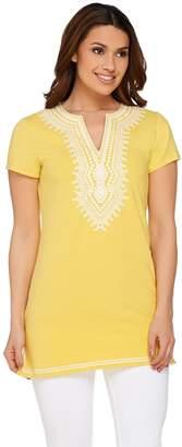 C. Wonder Embroidered Split V-neck Short Sleeve Knit Tunic