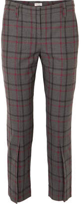Brunello Cucinelli Cropped Checked Wool-blend Tapered Pants