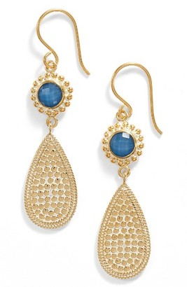 Women's Anna Beck Blue Quartz Double Drop Earrings $210 thestylecure.com