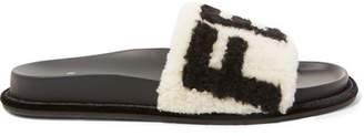 Fendi Logo-print Shearling Slides - White