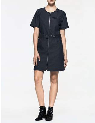 Calvin Klein platinum denim belted short sleeve dress