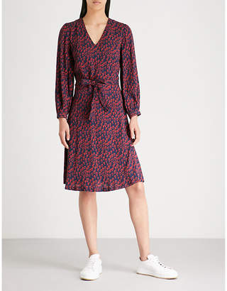 Claudie Pierlot Heart-print waist-tie crepe dress