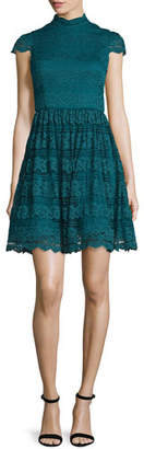 Alice + Olivia Maureen Lace Open-Back Party Dress, Turquoise $485 thestylecure.com