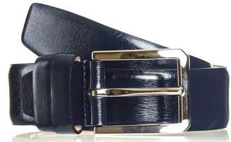 Black Navy Blue Textured Leather Belt
