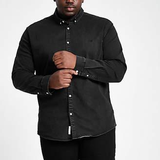 River Island Mens Big and Tall Black muscle fit denim shirt