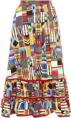 Stella Jean Gathered Stretch-cotton Poplin Midi Skirt
