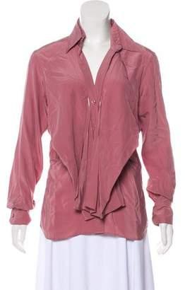 Saint Laurent Button-Up Silk Blouse