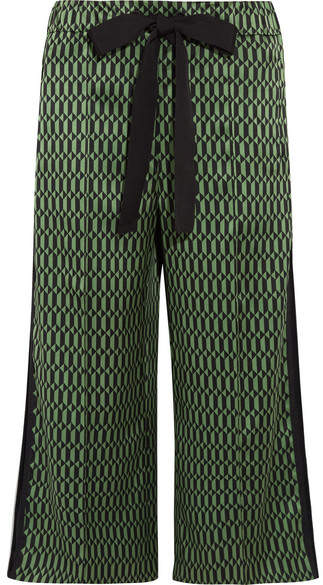 Fendi - Printed Silk-satin Wide-leg Pants - Green