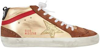 Golden Goose Mid Star Gold Glitter Star Sneakers