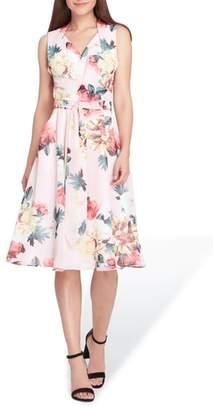 Tahari Floral Print Tie Waist Fit & Flare Dress