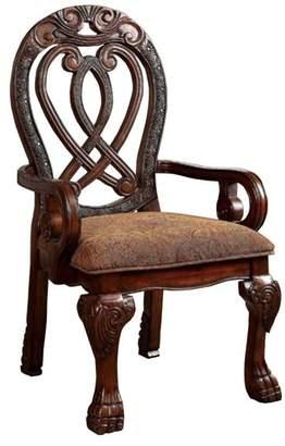 Benzara Wyndmere Traditional Arm Chairs, Cherry Finish