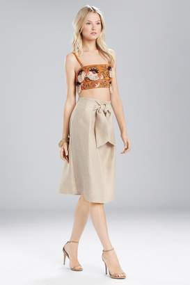 Josie Natori Straw Mixed Media Front Tie Skirt