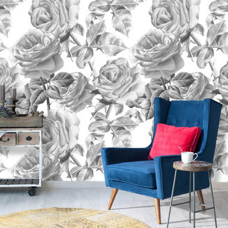 V&C Designs Black And White Roses Self Adhesive Removable Wallpaper