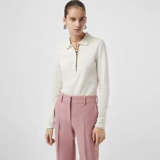 Burberry Long-sleeve Check Placket Cotton Pique Polo Shirt, White