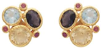 Carousel Jewels - Gold Gemstones Cluster Earrings