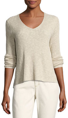 Eileen Fisher Long-Sleeve V-Neck Ribbed Tunic $168 thestylecure.com