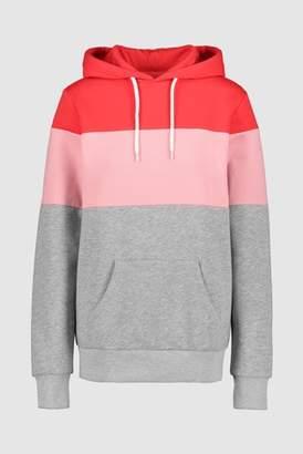 Next Womens Grey/Pink/Navy Colourblock Longline Hoody