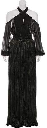 Rosetta Getty Metallic Cold Shoulder Gown w/ Tags