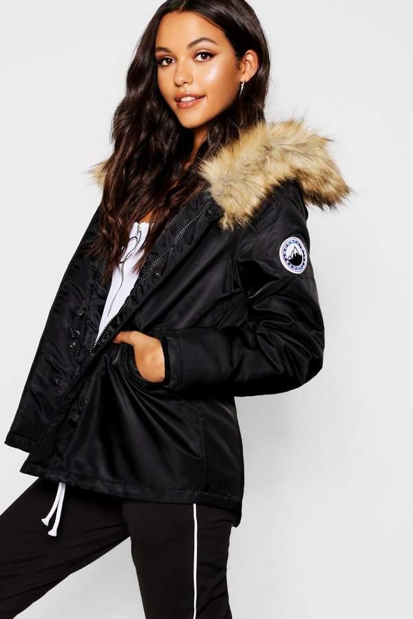 Short Sporty Luxe Faux Fur Parka