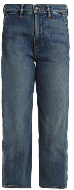 Straight-leg stretch-denim cropped jeans