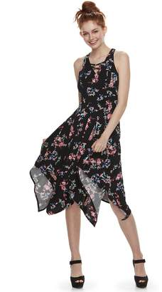 Candies Juniors' Candie's Lace-Up Handkerchief Maxi Dress