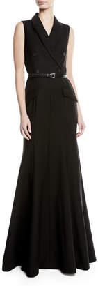 Michael Kors Sleeveless Wool Jacket Mermaid Gown