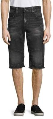 True Religion Frayed Moto Denim Shorts