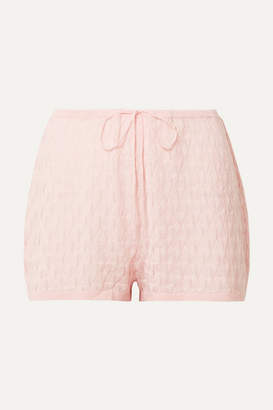 Skin - Madison Shortie Pointelle-knit Wool-blend Pajama Shorts - Pastel pink