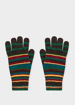 Paul Smith Men's Signature Stripe Wool-Cashmere Gloves