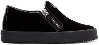 Giuseppe Zanotti Black Velvet Veronica Sneakers $595 thestylecure.com