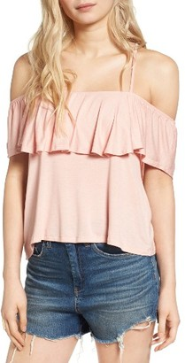 Women's Lush Ruffle Cold Shoulder Top $35 thestylecure.com
