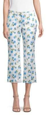 Michael Kors Rose Print Cropped Pants
