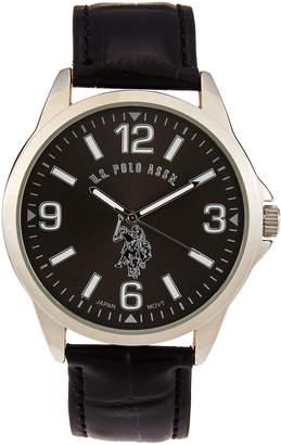 U.S. Polo Assn. USC50007 Silver-Tone & Black Watch