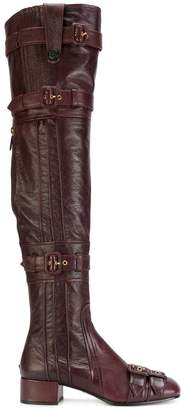 Prada thigh-high buckle boots