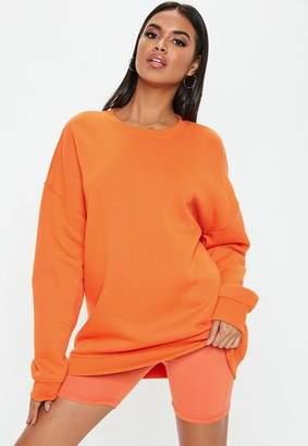 Missguided Orange Oversized Brush Back Sweatshirt