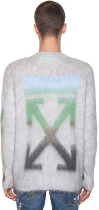 Off-White Diag Brushed Mohair Blend Knit Sweater