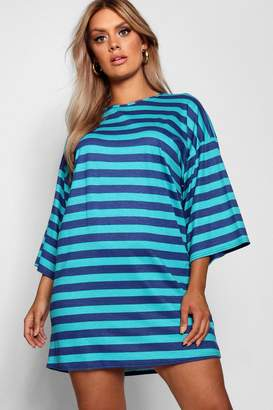boohoo Plus Scoop Neck Striped T-Shirt Dress